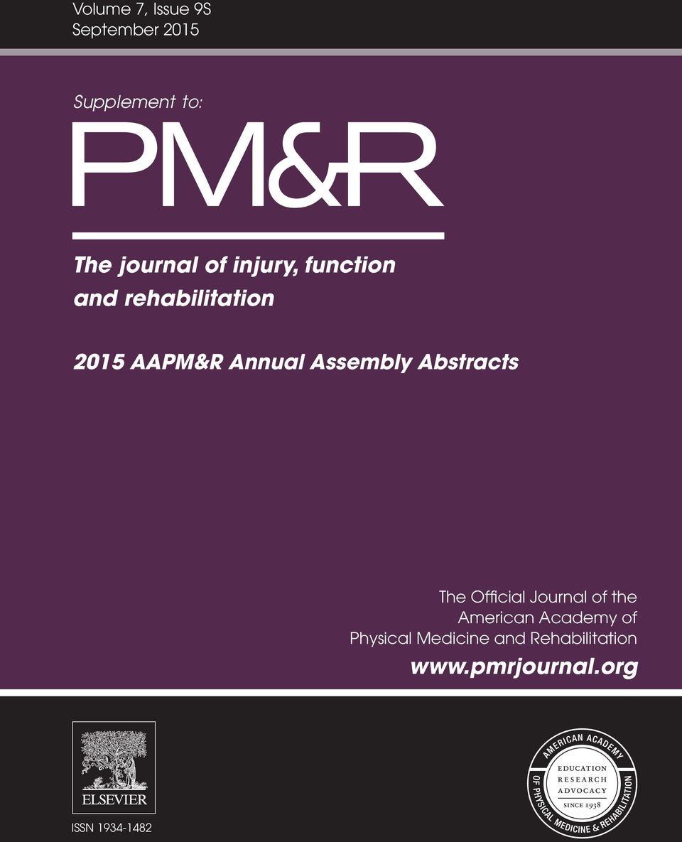 PM & R : the journal of injury, function, and rehabilitation